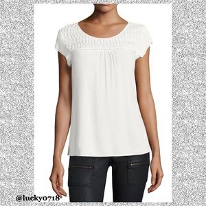 Joie White Annis Pintuck Back Keyhole Top Sz S